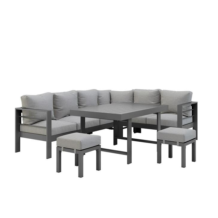 Portland Outdoor Corner Sofa Lounge with Footstools - Grey with Grey Cushion