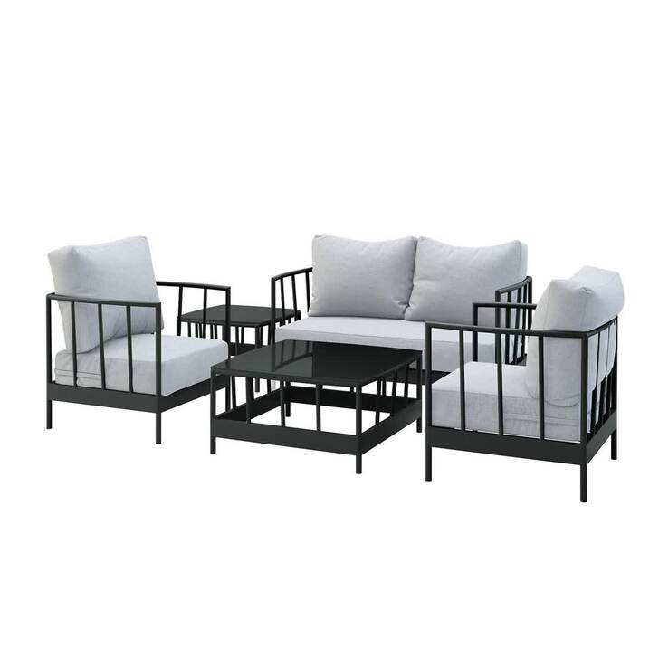 Remy 4 Seater Outdoor Conversation Lounge Set - Black