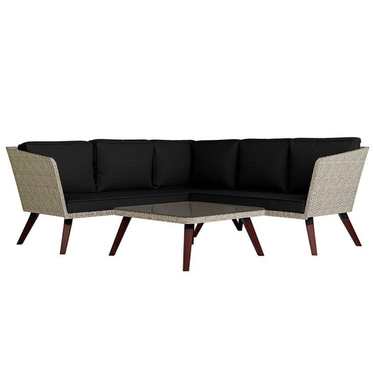 Tortuga 5 Seater Wicker Outdoor Sofa Set - Black Cushions