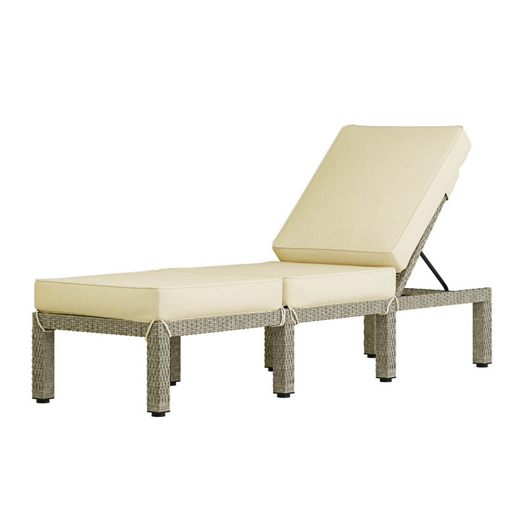 Coral Wicker Outdoor Sunbed Lounger - Cream Cushions