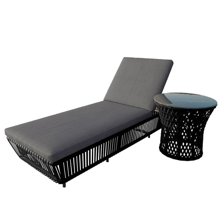 Tresor Aluminium Outdoor Rope Sun Lounge Set - Black