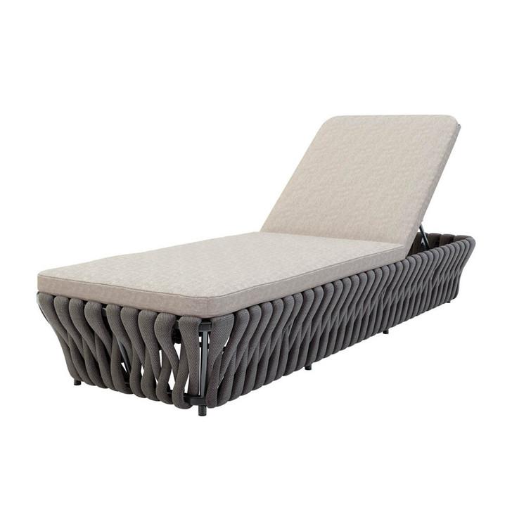 Morant Aluminium Outdoor Rope Sunbed Lounge - Dark Grey