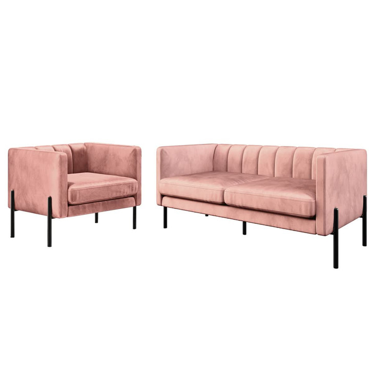Avian 3 Seater Velvet Sofa Set with Steel Legs