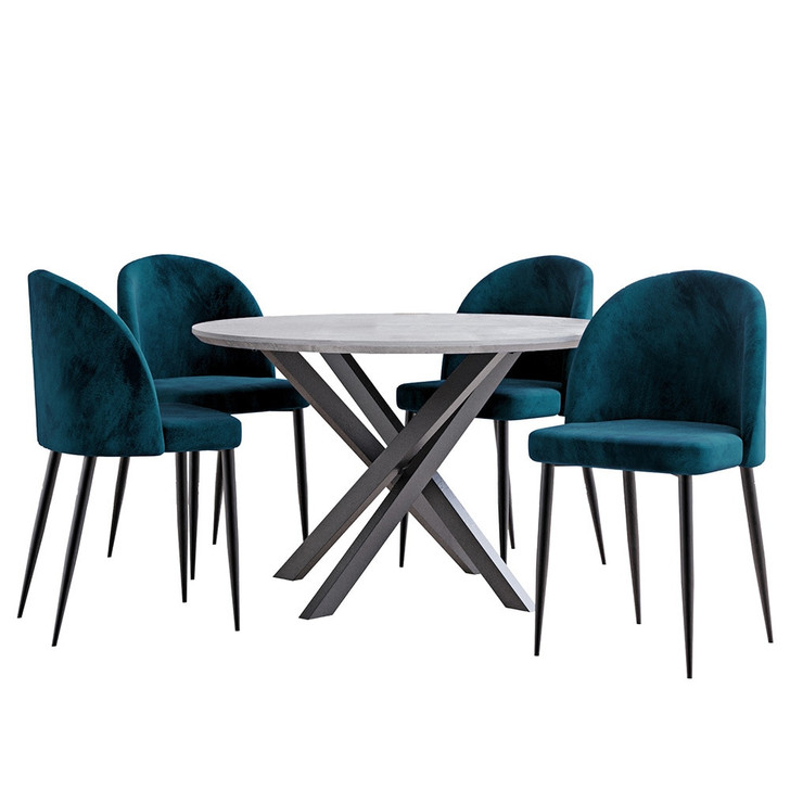 Stoten Concrete with 4 Nullica Chairs Teal Dining Set