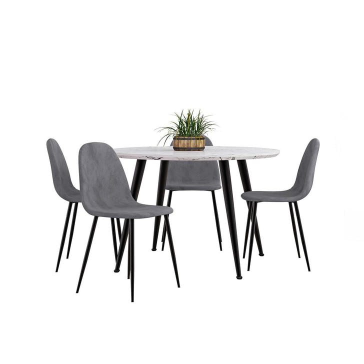 Eugene Table with 4 Halsa Chairs Dining Set