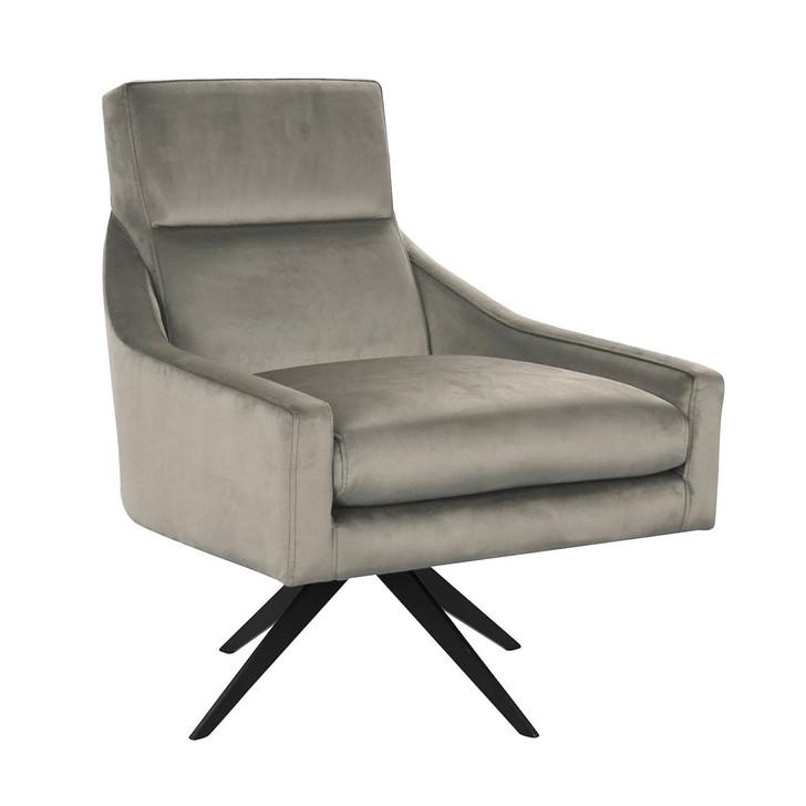Pia Velvet Swivel Accent Chair - Light Grey