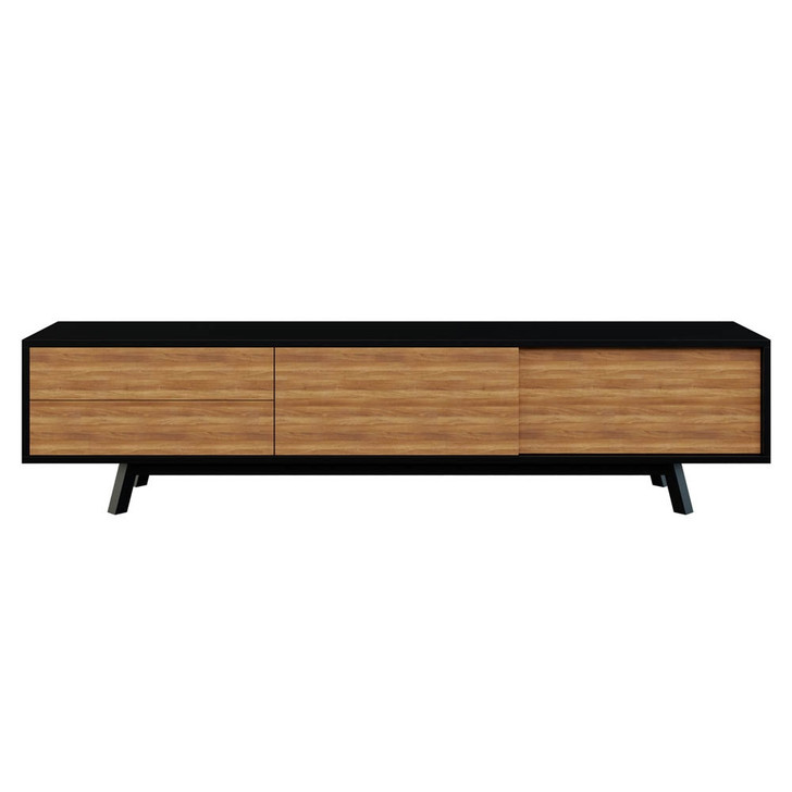 Gavyn Entertainment Unit with Cabinet and Drawers - Black