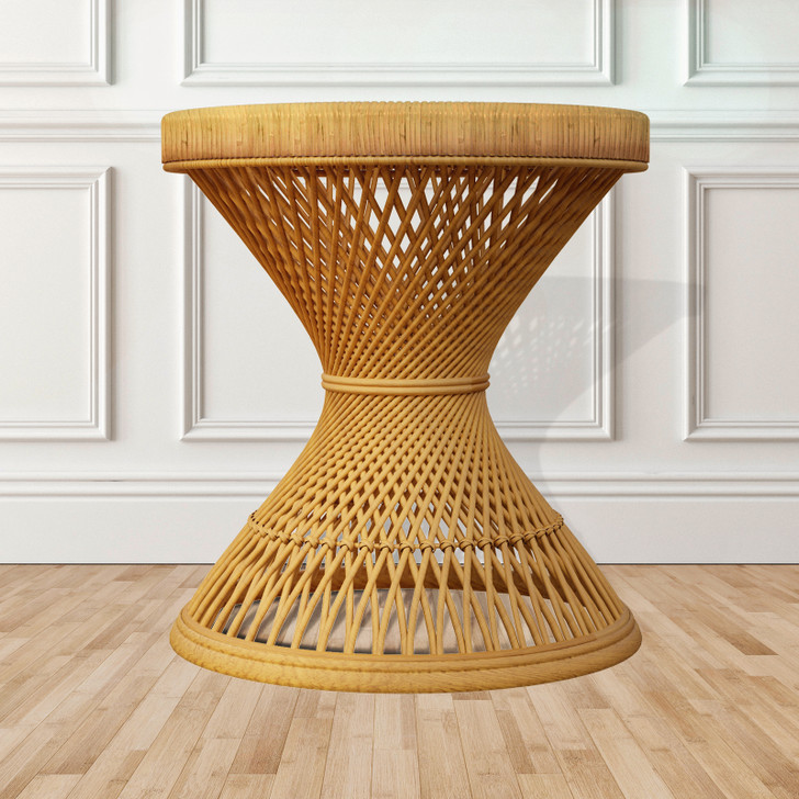 Noah Natural Rattan Side Coffee Table - Honey