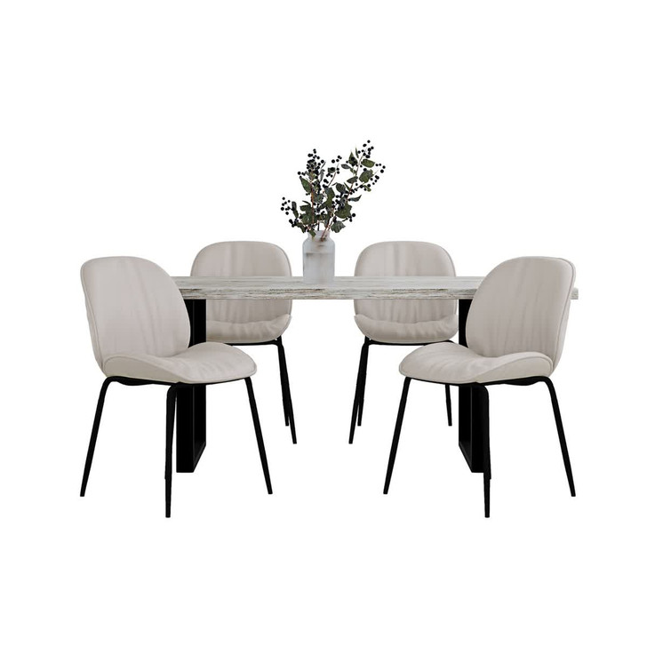 Ernest Table with 4 Finn Chairs Dining Set