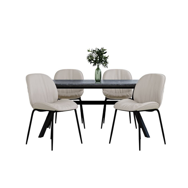 Bjorka Table with 4 Finn Chairs Dining Set