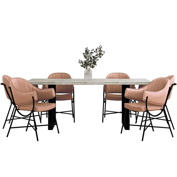 Ernest Table with 6 Arden Dusty Rose Chairs Dining Set