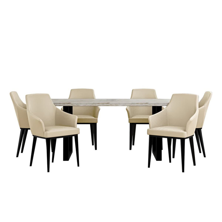 Ernest Table with 6 Caleb Cream White Chairs Dining Set