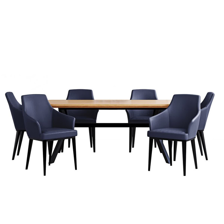 Bjorka Table Oak with 6 Caleb Chairs Dining Set
