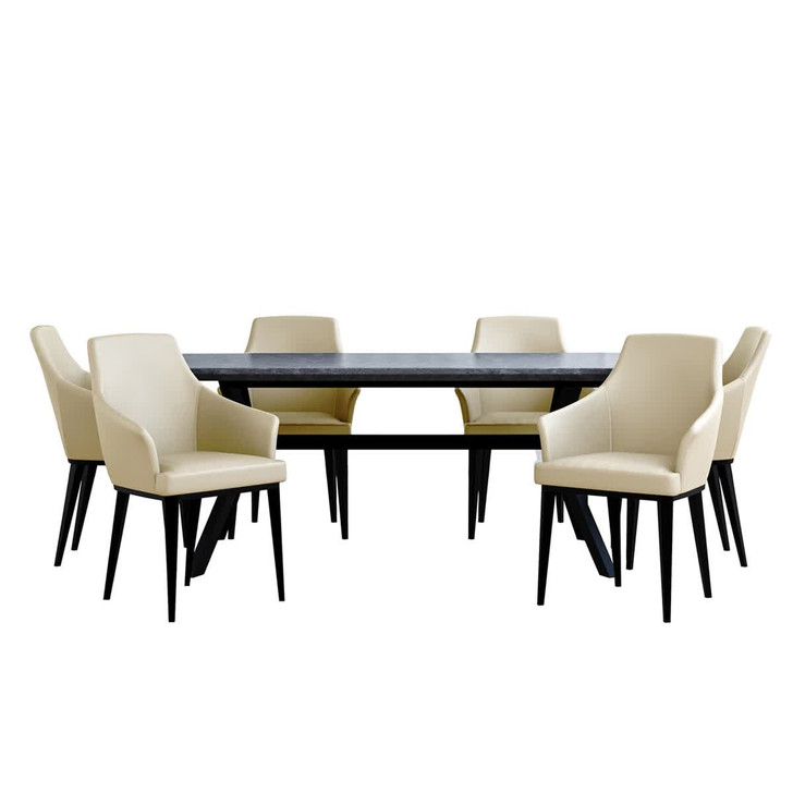 Bjorka Table Concrete with 6 Caleb Cream Chairs Dining Set