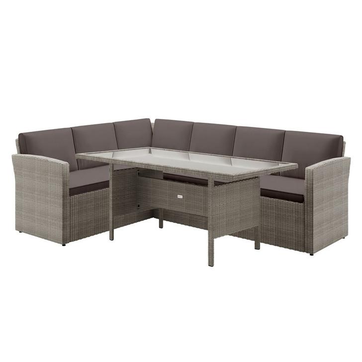 Ballena 6 Seater Wicker Outdoor Sofa Dining Furniture Set - Antique Grey