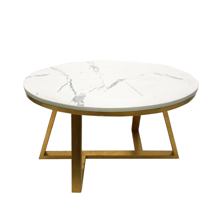 Aimee 70cm Marble Coffee Table with Gold Legs
