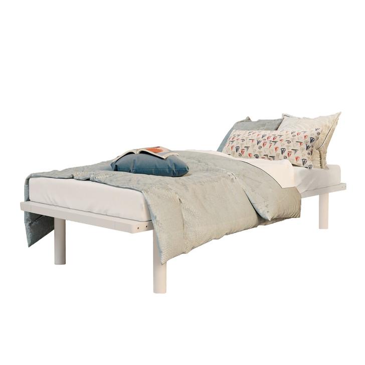 Elias Solid Pine Timber Single Bed Base - White