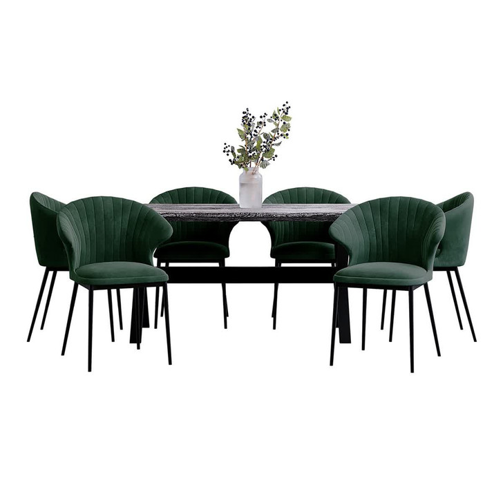 Alsta Table with 6 Ange Chairs Dining Set