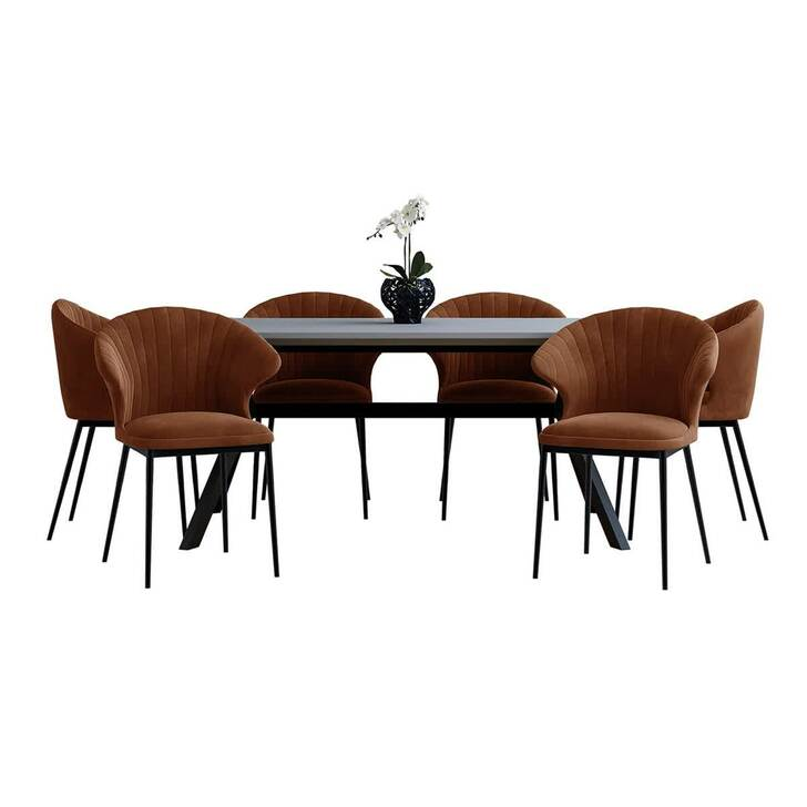 Senja Table with 6 Ange Chairs Dining Set