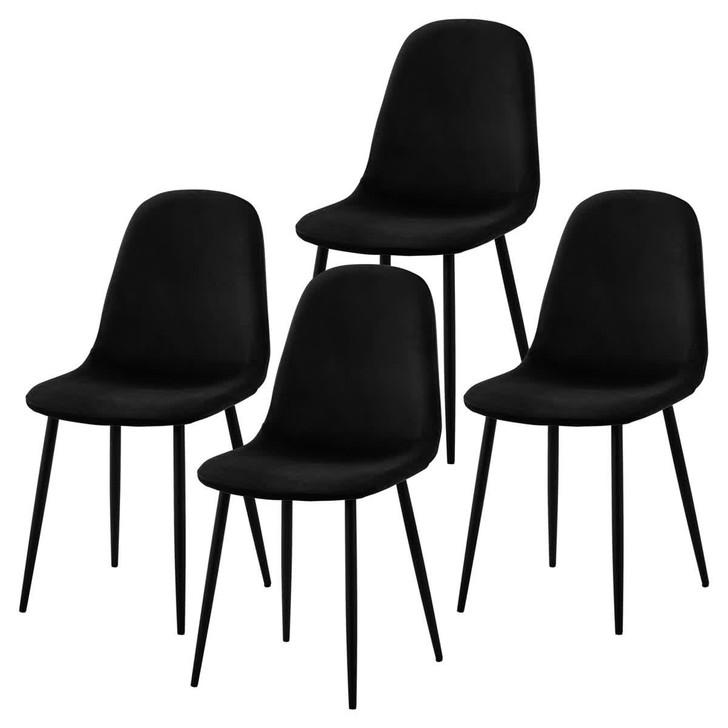 Halsa Velvet Fabric Black Indoor Dining Chair (Set of 4)