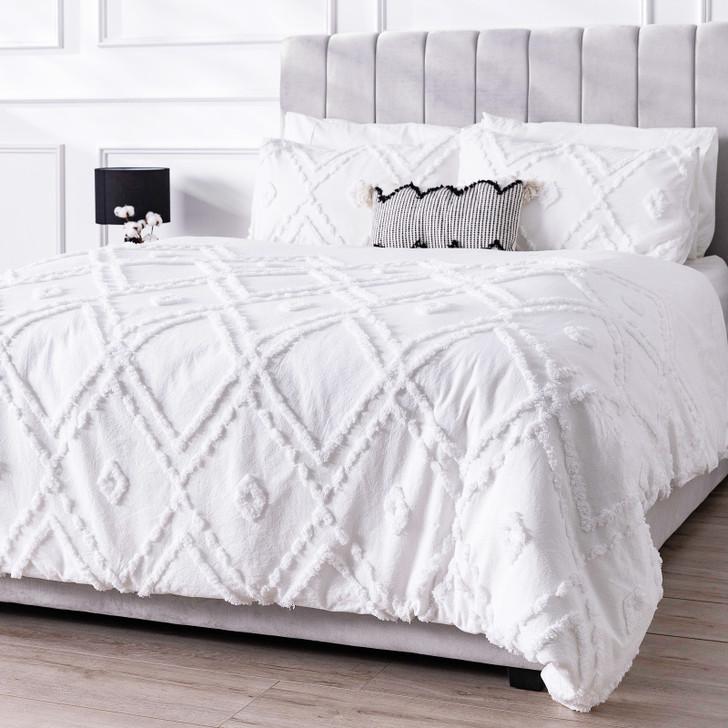 Bloom Double 6pc Cotton Quilt Cover Set - White-lifestyle
