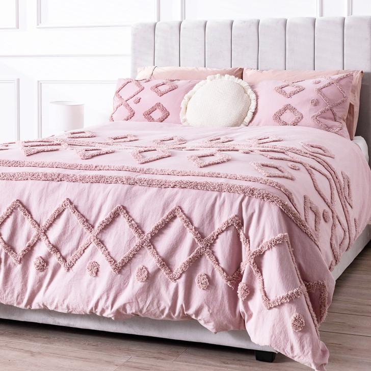 Davina Double Cotton Quilt Cover Set - Pink-lifestyle