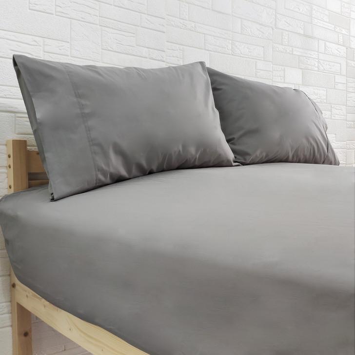 Amara100% Cotton Fitted Sheet Set - Grey-lifestyle