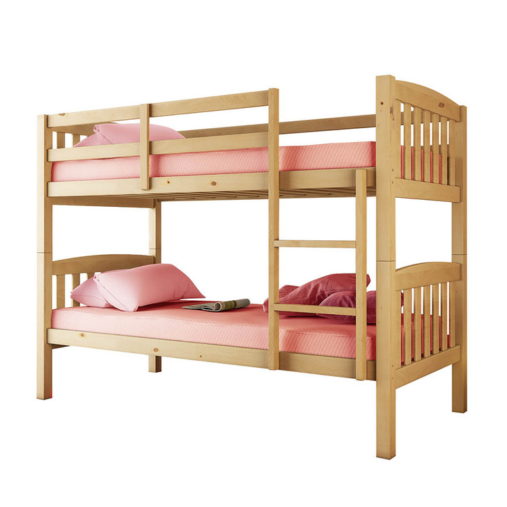 Dante 2-in-1 Solid Pine Timber Bunk Bed - Natural