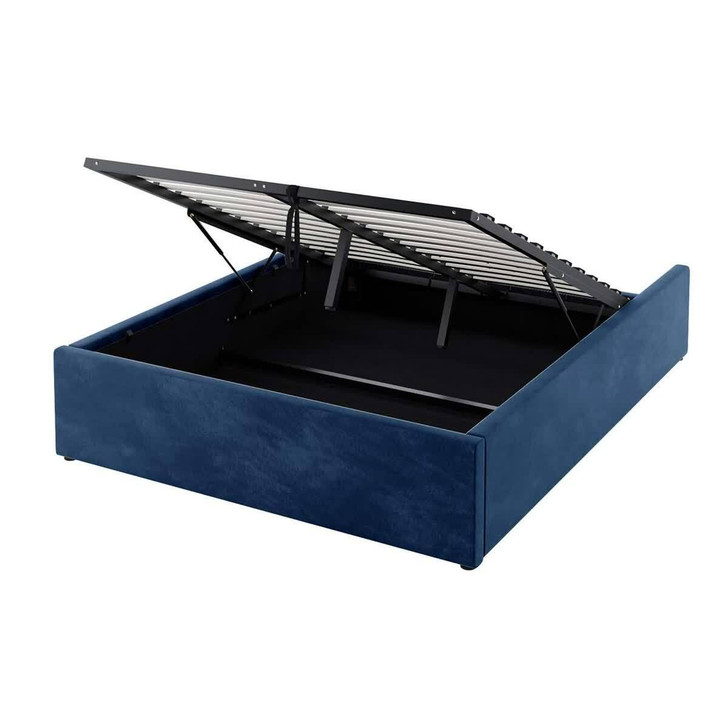 Fabia Fabric Gas Lift Storage Double Bed Base - Blue