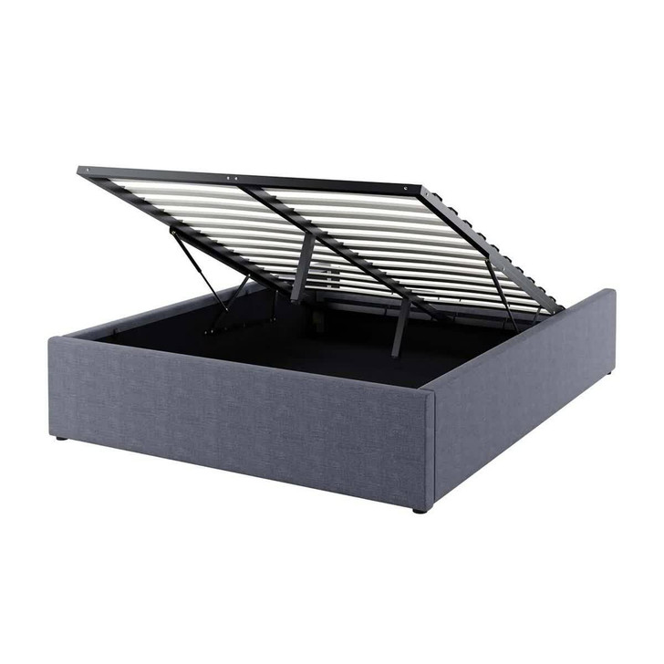 Fabia Fabric Gas Lift Storage Double Bed Base - Charcoal