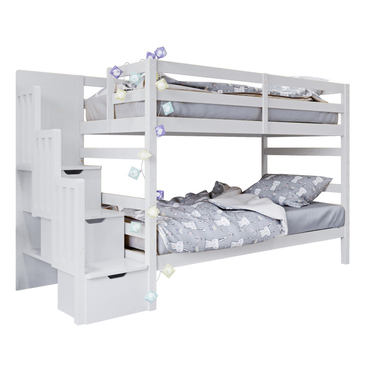 Galla Timber Bunk Bed with Storage Staircase - White