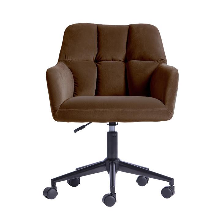 Luxo Abril Tufted Velvet Office Chair - Brown