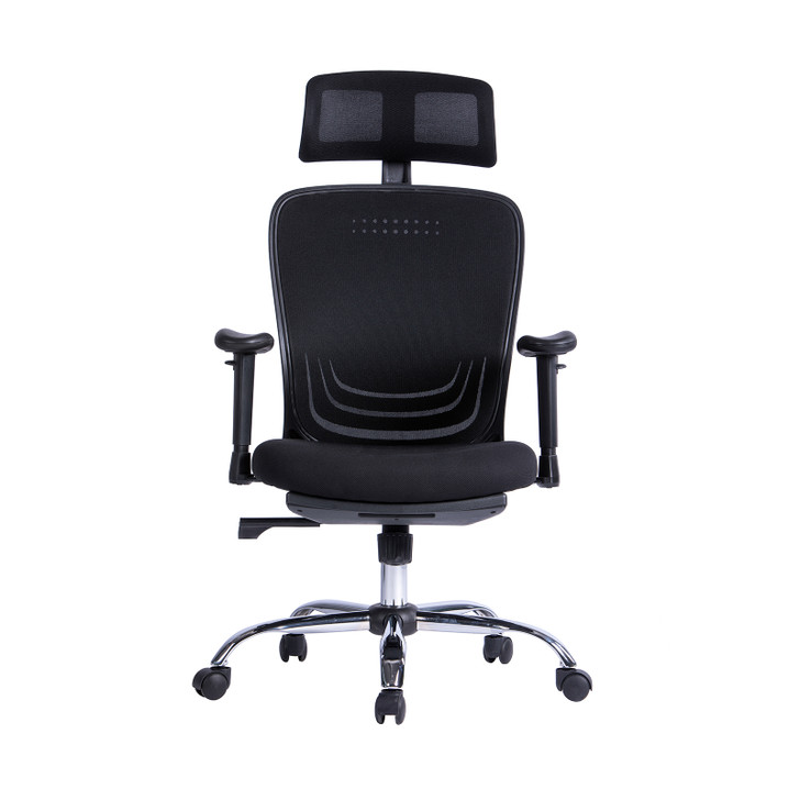 Luxo Edom Mesh Office Chair with Footrest - Black