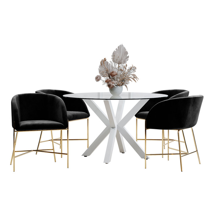 Rylee 120cm White Round Table w/ 4 Catford Chairs Dining Set