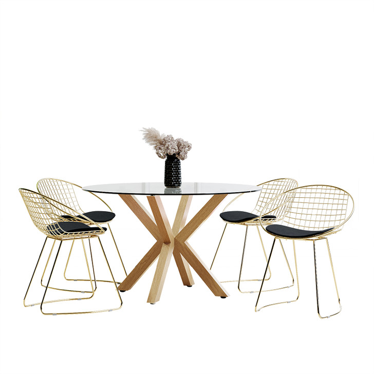 Rylee 120cm Oak Round Table w/ 4 Quinn Chairs Dining Set-Black