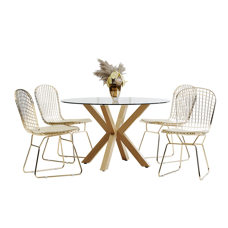Rylee 120cm Oak Round Table w/ 4 Leah Chairs Dining Set-Cream