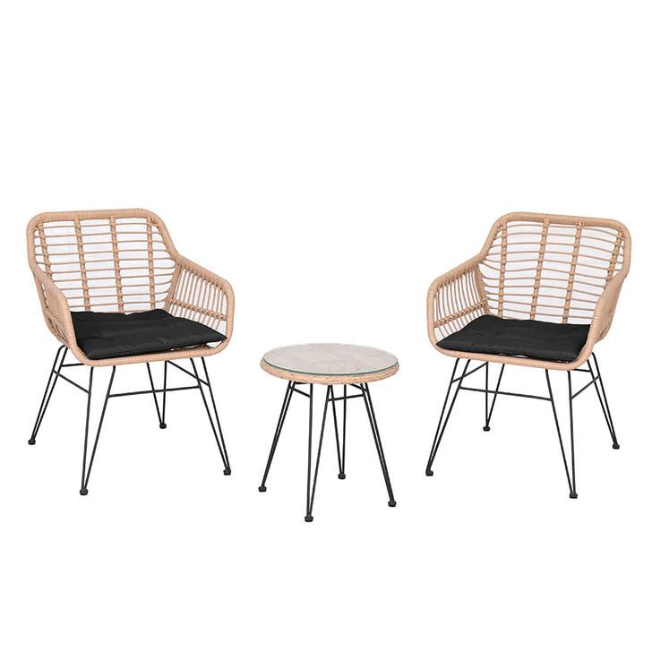 Monos Rope Wicker Patio Leisure Set w/ Coffee Table - Black