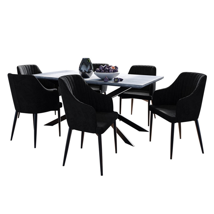 Alfred Dining Table with 6 Elly Chairs Set in Black
