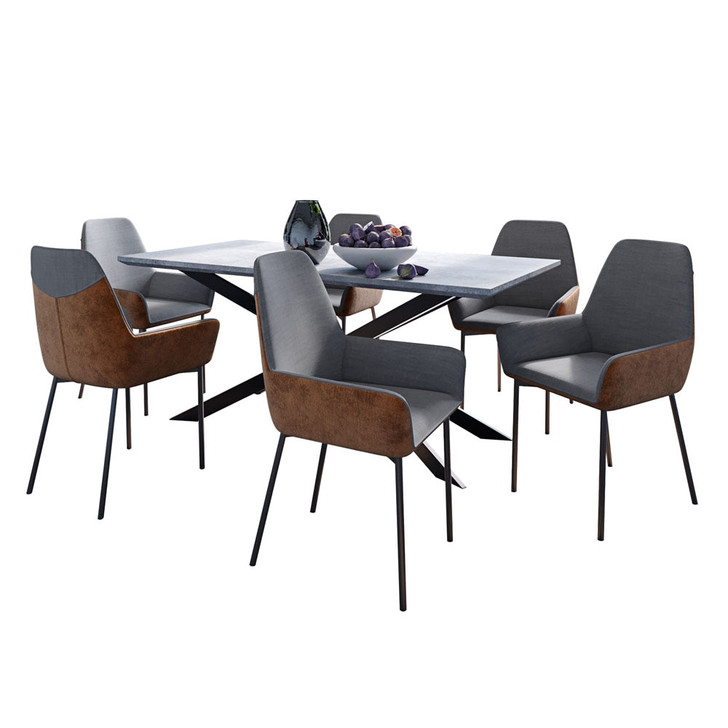 Alfred Dining Table with 6 Eve Chairs Set in Brown