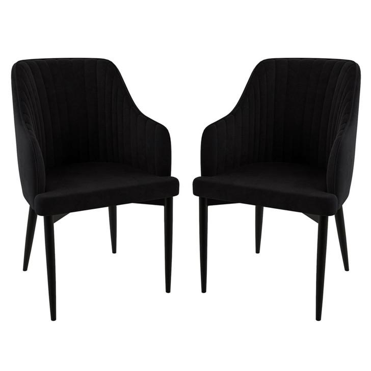 Elly Velvet Fabric Indoor Dining Chair - Black (2pc)