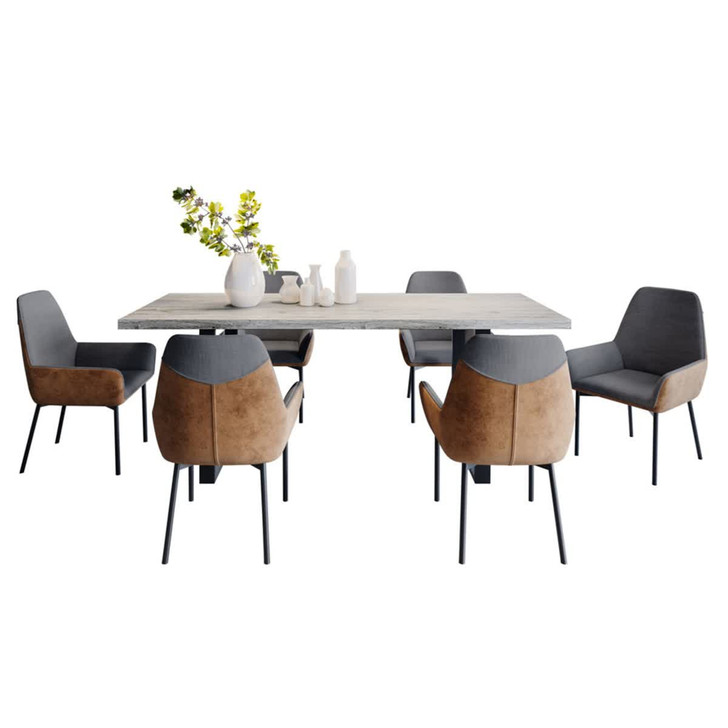 Ernest Dining Table with 6 Eve Chairs Set in Brown