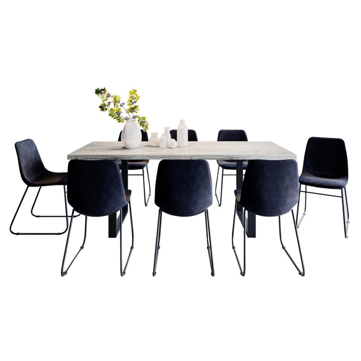 Ernest Dining Table with 8 Hallel Chairs Set in Black