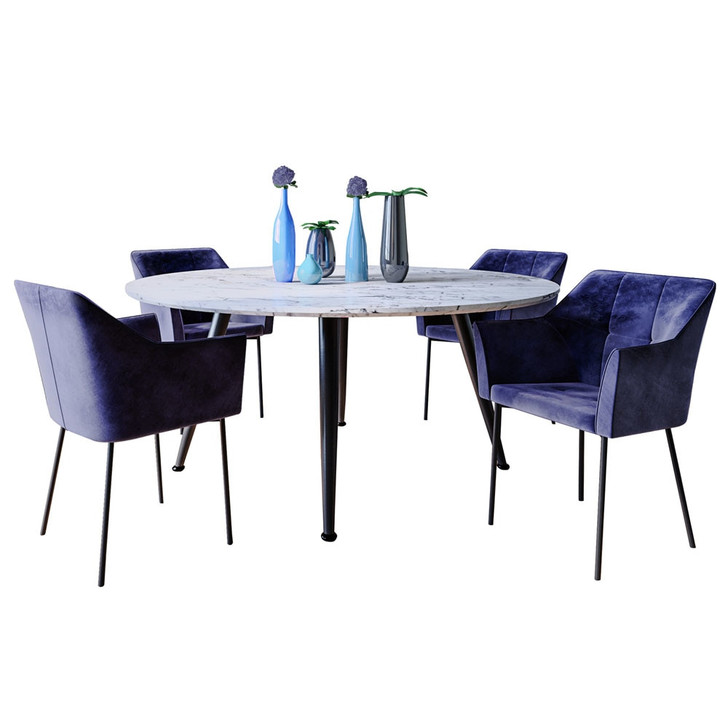 Eugene Dining Table with 4 Airi Chairs Set in Deep Navy