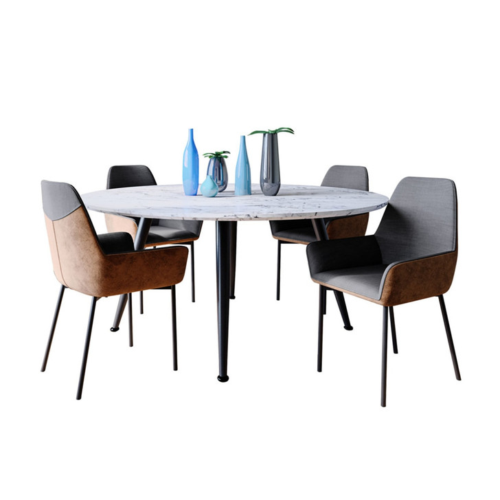 Eugene Dining Table with 4 Eve Chairs Set in Brown