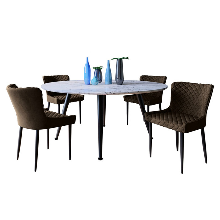 Eugene Dining Table with 4 Glenn Chairs Set in Brown