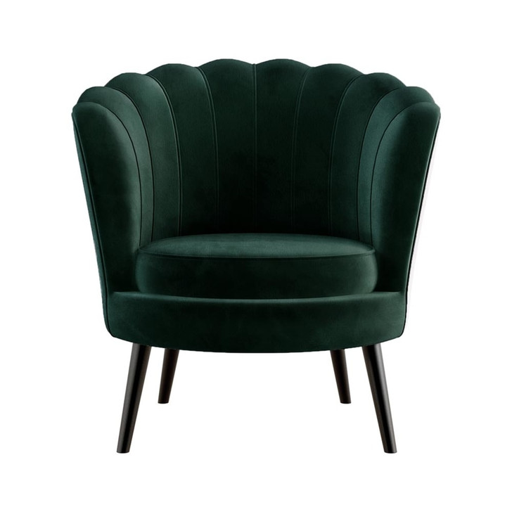 Chantal Scallop Velvet Accent Chair - Dark Forest Green