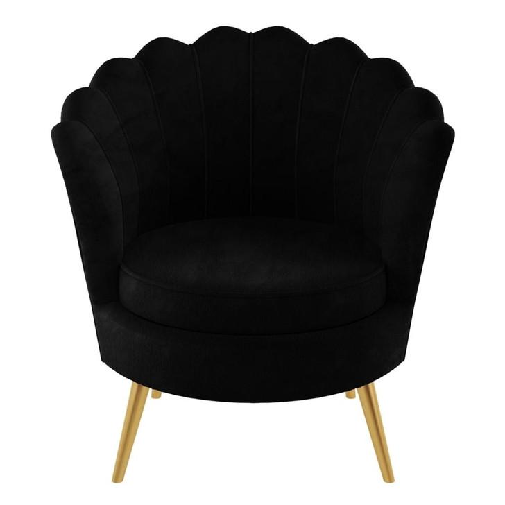 The DIY Decorator Chantal Scallop Velvet Chair - Black
