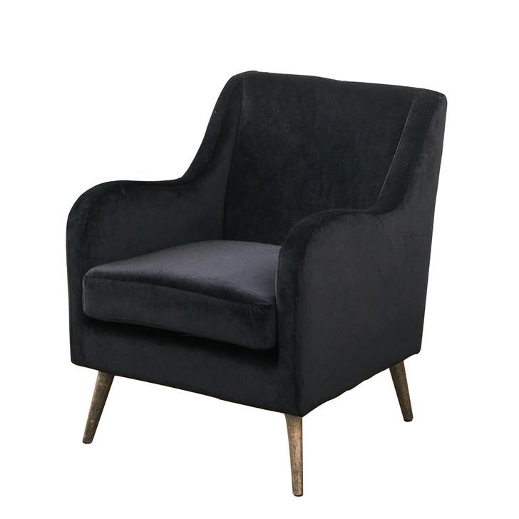 Marcius Single Seat Velvet Accent Chair  - Black
