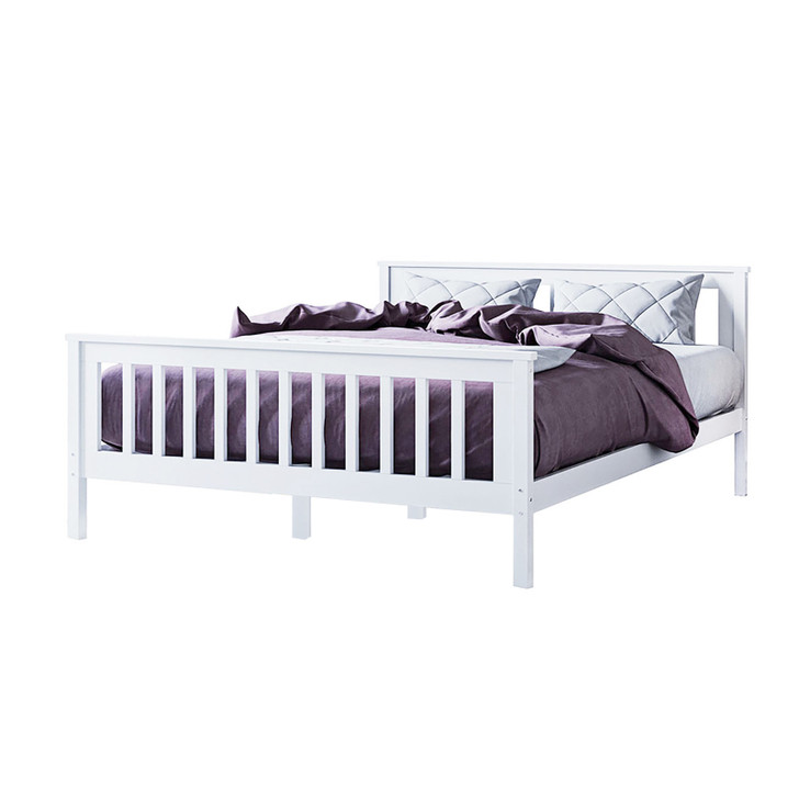 Horatia Solid Pine Timber Double Bed Frame - White