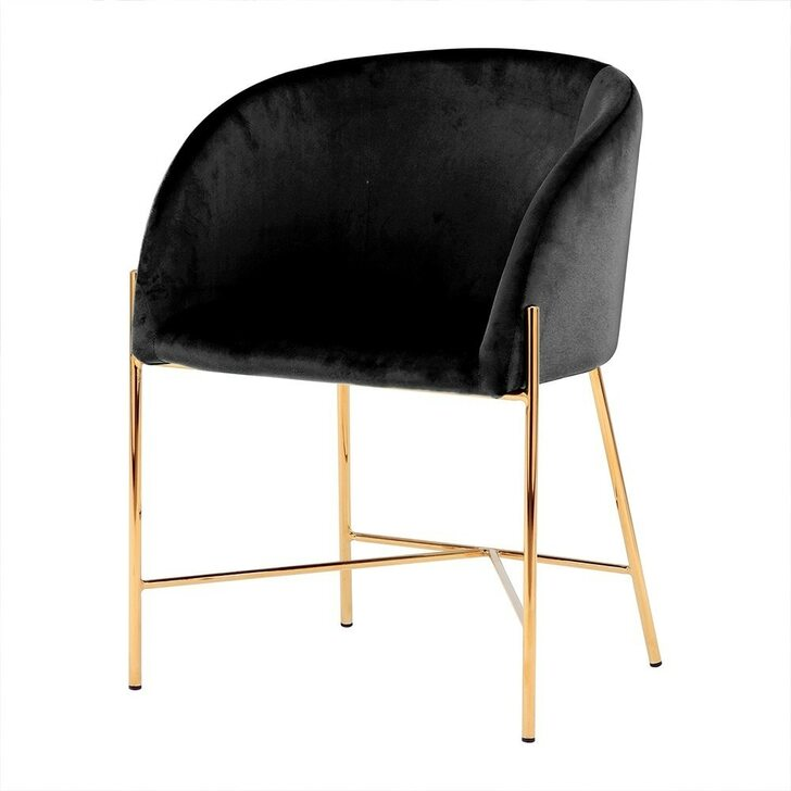 Catford Velvet Dining Chair with Gold Legs - Black